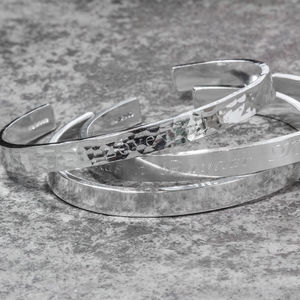 Sterling Silver Chunky Engraved Cuff Bangle - bracelets & bangles