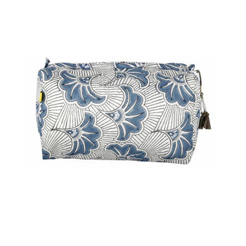 Karnataka Deco Floral Wash Bag In Soft Teal