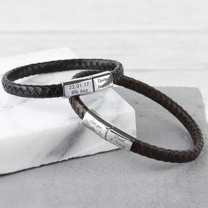 Men's Personalised Woven Bracelet - gifts for him sale