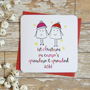 'First Christmas As Grandparents ' Xmas Card - christmas cards