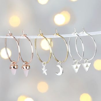 Set Of Three Pairs Of Hoop And Charm Earrings
