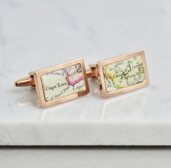 Personalised Rectangle Map Location Cufflinks Rose Gold