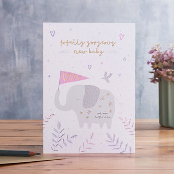 New Baby Card With Elephant Illustration