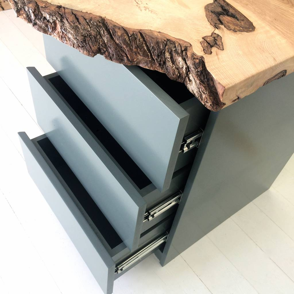 oak waterfall desk with drawers by sandman home and garden