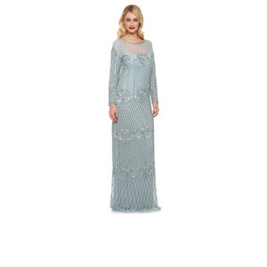 Art Deco Long Sleeve Embellished Maxi Dress - flapper dresses