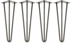 Four X Three Rod Unfinished Steel Hairpin Legs - furniture