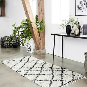 Tufted Geometric Rug In Black And Cream - rugs & doormats