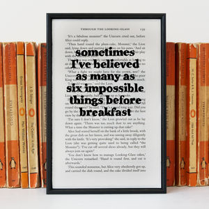 Alice In Wonderland 'Six Impossible Things' Book Print - start the day with a smile