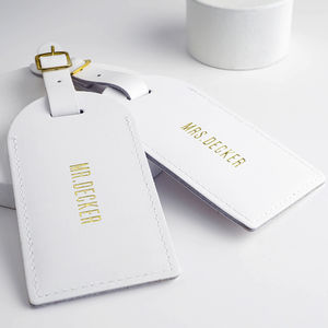 Leather Wedding Luggage Tags - 3rd anniversary: leather