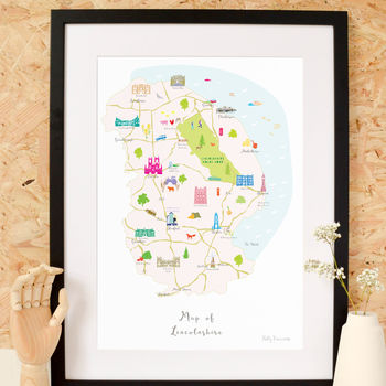 Map Of Lincolnshire Art Print