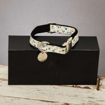 The Stamford Cream And Blue Floral Dog Collar