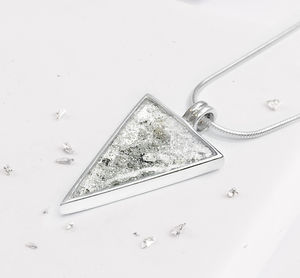 Sterling Silver Resin Triangular Shaped Pendant