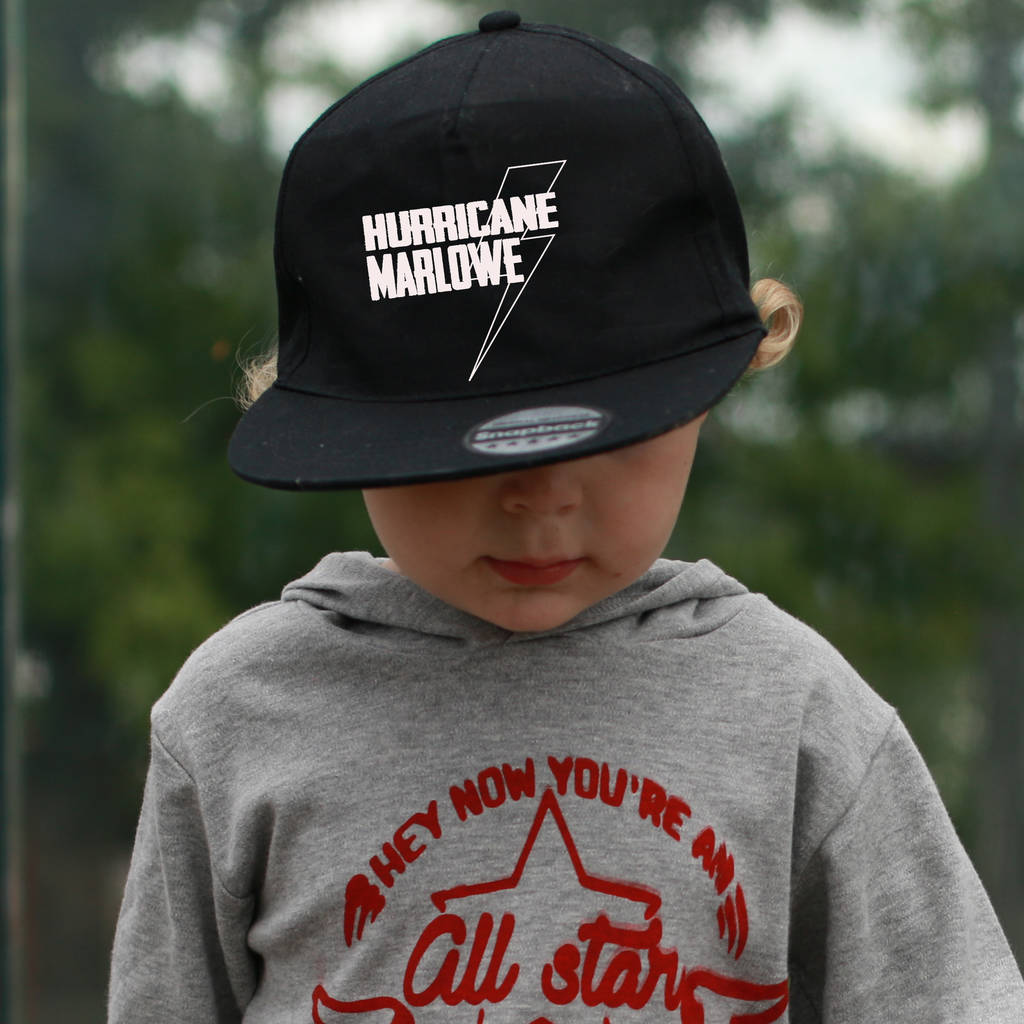 personalised hurricane kids snapback by marloweville ... 5c27e9a649cc