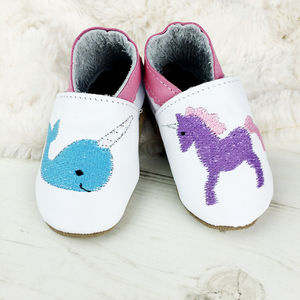 Personalised Unicorn And Narwhal Baby Shoes