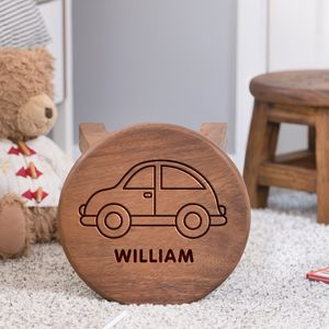 Personalised Car Design Wooden Stool - christening gifts