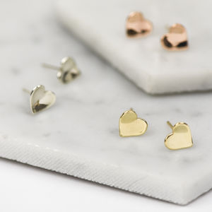 Handmade Solid Gold Concave Heart Stud Earrings - gold