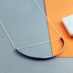 Crescent Black And Silver Geometric Long Chain Necklace - necklaces & pendants