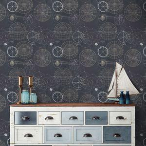 Astronomy Blue Wallpaper Set Of Three Rolls - home decorating