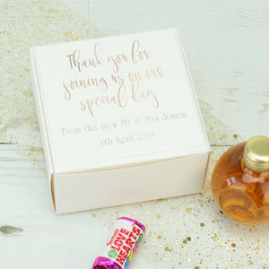 Personalised Rose Gold Wedding Favour Box - wedding favours