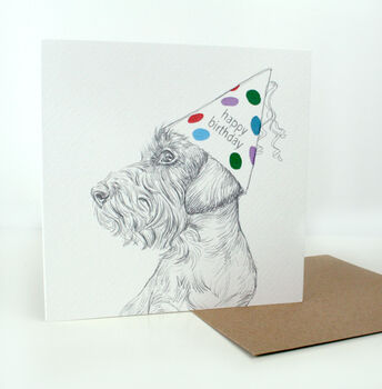 Wire Haired Dachshund Illustrated Birthday Card