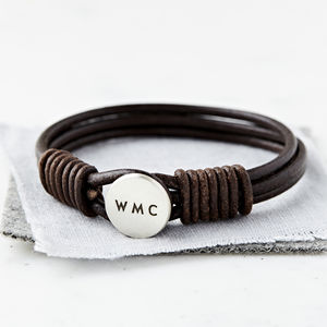 Personalised Men's Silver And Leather Bracelet - gifts for fathers