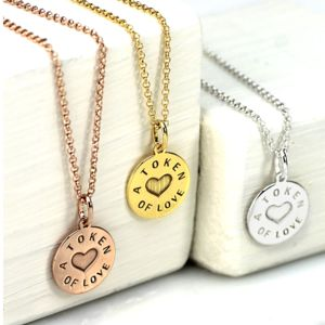 Personalised Silver And Gold Love Token Pendant - necklaces