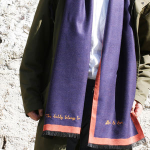 Personalised Men's Reversible Cashmere Scarf