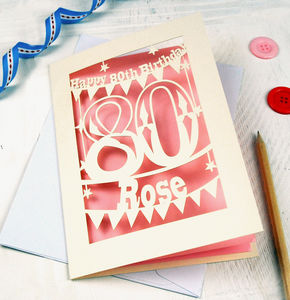 Personalised Papercut 80th Birthday Card