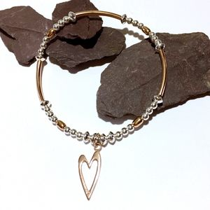 Sterling Silver And Rose Gold Heart Beaded Bracelet