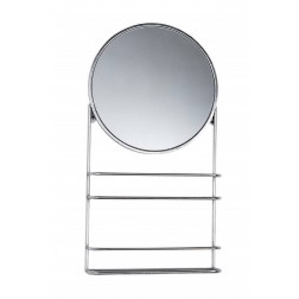 Gold Or Silver Circular Bathroom Mirror With Shelves By The Forest
