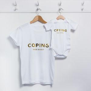 Personalised Coping Crying Mother's Day T Shirt Set
