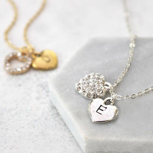 Personalised Diamante Heart Necklace