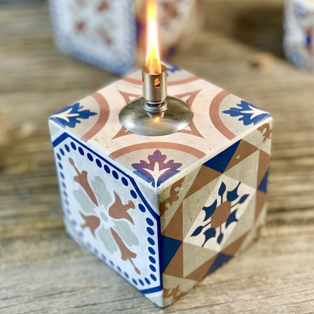 Portuguese Tabletop Tile Oil Lamp