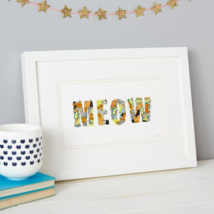 'Meow' Cat Sticker Typography Print - posters & prints