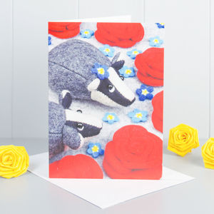 Badgers And Roses Greeting Card - birthday cards
