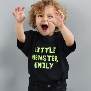 Personalised 'Little Monster' Children's T Shirt - halloween with a twist