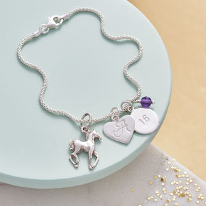 Horse Charm Bracelet With Birthstones And Initial