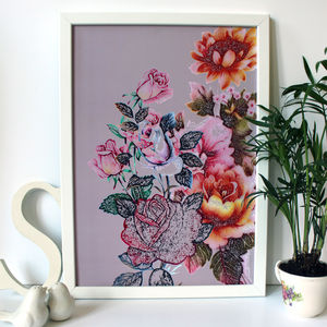 Tropical Floral Rose Summer Print - posters & prints