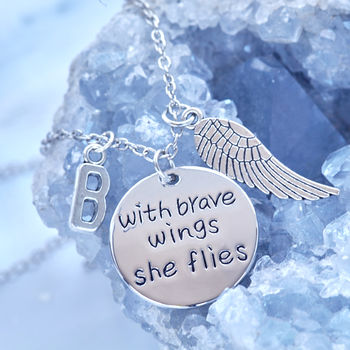 'With Brave Wings She Flies' Initial Necklace