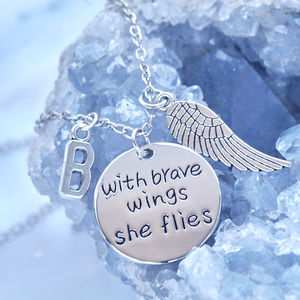 'With Brave Wings She Flies' Initial Necklace - necklaces & pendants