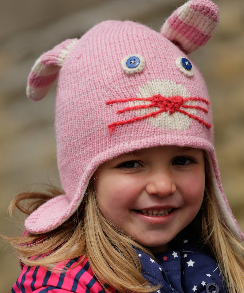 Pink Bunny Knit Hat