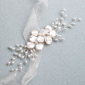 Nidia Freshwater And Keishi Pearl Bridal Hair Vine - bridal hairpieces