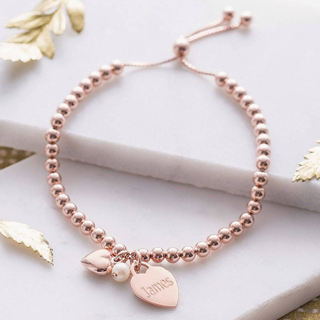 Personalised 18ct Rose Gold Ball Slider Bracelet By