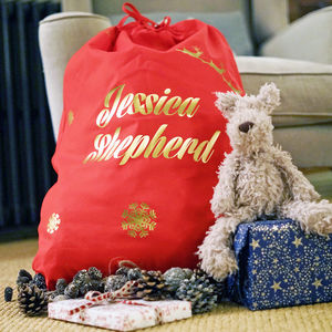 Large Red Personalised Christmas Sack