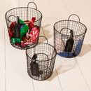 Personalised Set Of Three Woven Wire Storage Baskets