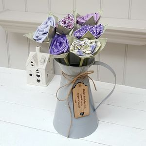 Birthday Cotton Flowers In Jug And Engraved Oak Tag - tableware