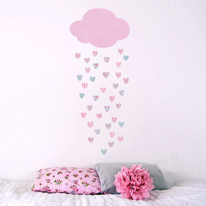 Raining Hearts Nursery Wall Sticker