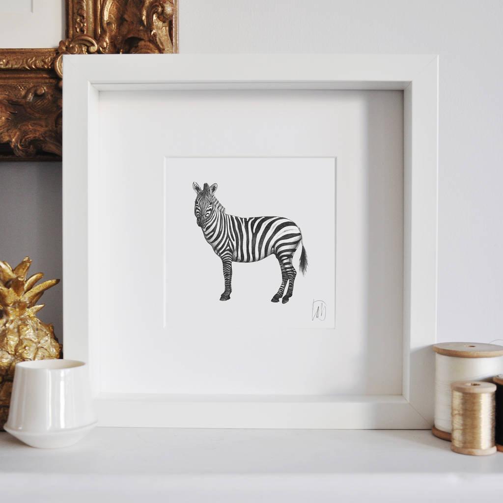 framed zebra print by lale guralp | notonthehighstreet.com