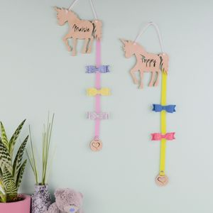 Personalised Girls Unicorn Hair Bow And Clip Hanger
