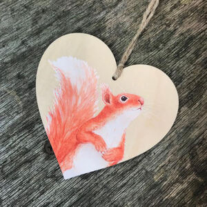 Red Squirrel Wooden Hanging Heart Decoration